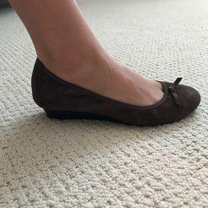Hush Puppies brown suede wedge. Size 9.
